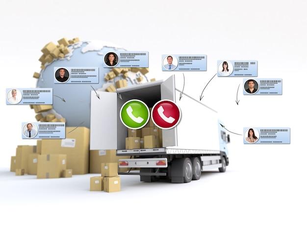 Representación 3d de diferentes contactos comerciales que realizan una conferencia telefónica en un contexto de distribución internacional