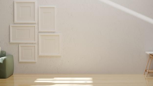 Representación 3d, diseño de interiores de casa con marcos en la pared blanca, sofá y mesa