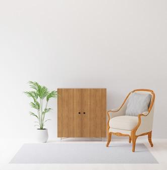 Representación 3d de diseño de interiores con silla, gabinete, árbol y alfombra imitan para arriba de copyspace