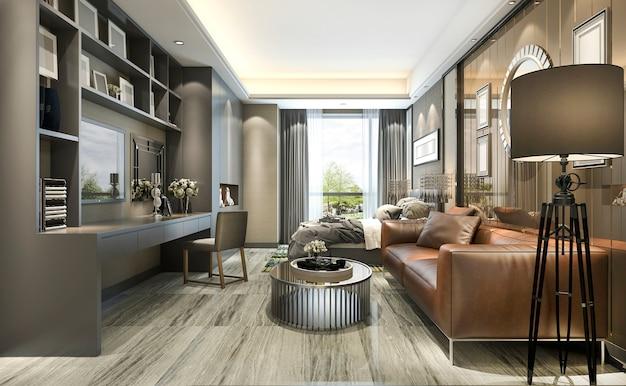 Representación 3d de diseño de lujo sala de estar y dormitorio en edificio moderno