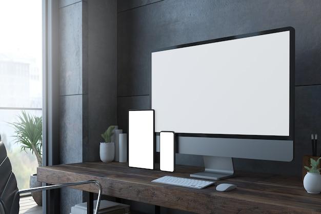 Representación 3d de dispositivos de escritorio receptivos con pantalla blanca