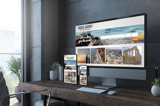 Representación 3d de dispositivos de escritorio receptivos con sitio web de viajes