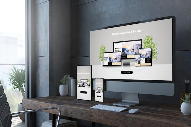 Representación 3d de dispositivos de escritorio receptivos con sitio web