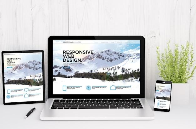 Representación 3d de dispositivos en la mesa con diseño receptivo