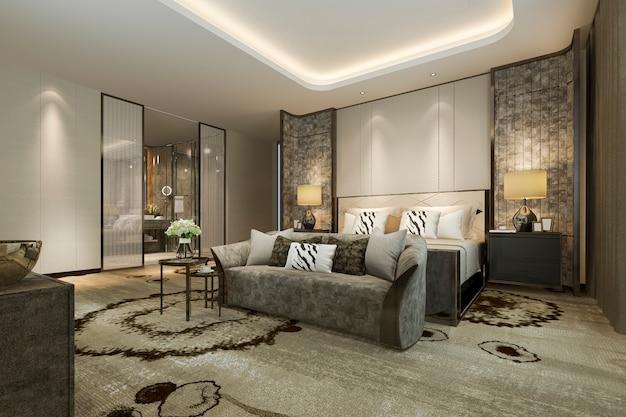 Representación 3d dormitorio y baño de lujo clásico moderno