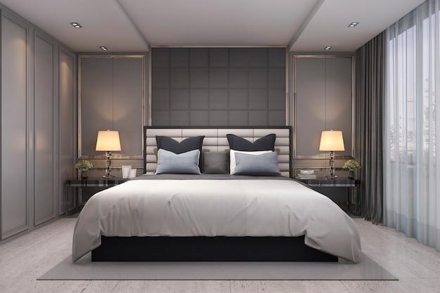 Representación 3d dormitorio clásico de lujo moderno con decoración de mármol
