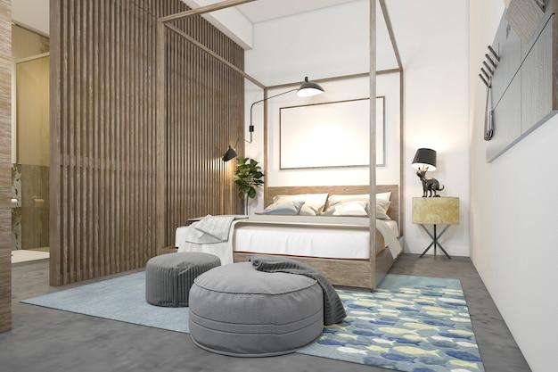 Representación 3d dormitorio loft minimalista para niños