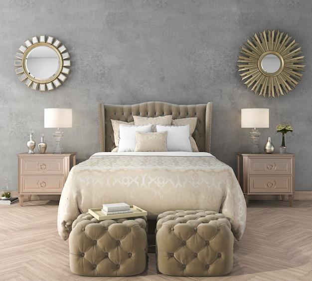 Representación 3d de dormitorio de lujo clásico con puf y espejo y muro de hormigón