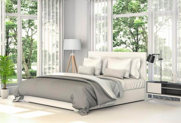 Representación 3d del dormitorio moderno interior,