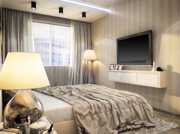 Representación 3d de dormitorio moderno