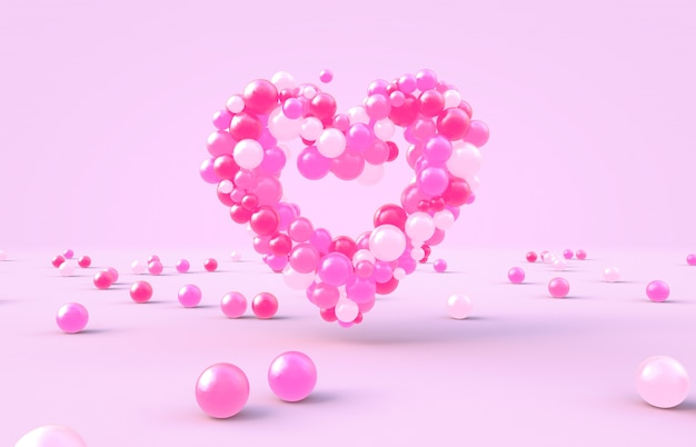 Representación 3d dulce en forma de corazón del día de san valentín con fondo de bolas de caramelo rosa