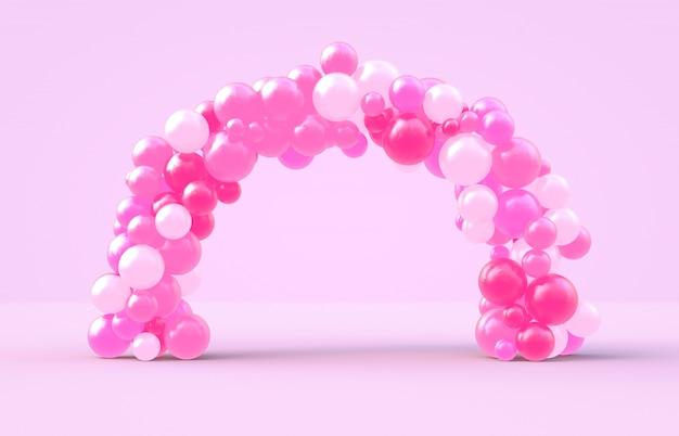 Representación 3d dulce marco de arco del día de san valentín con fondo de globos de dulces de color rosa