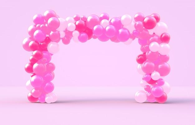 Representación 3d dulce marco cuadrado del día de san valentín con fondo de globos de dulces de color rosa