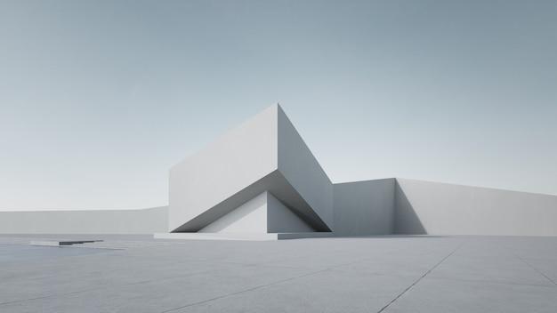Representación 3d del edificio blanco abstracto con el cielo claro.