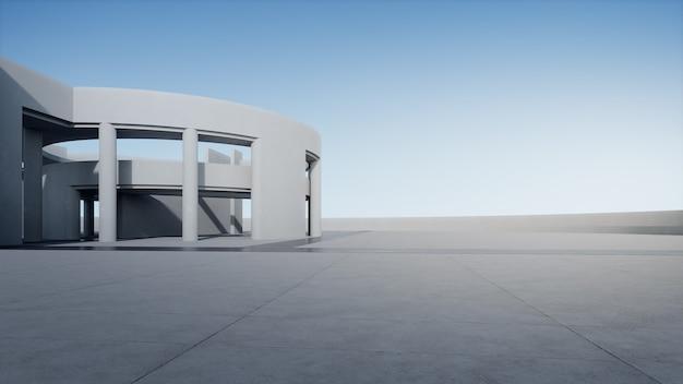 Representación 3d del edificio curvo blanco abstracto