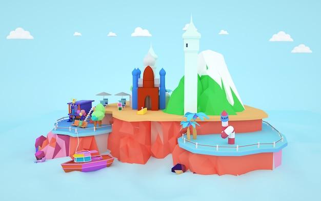 Representación 3d del edificio de dibujos animados de mezquita isométrica en una isla