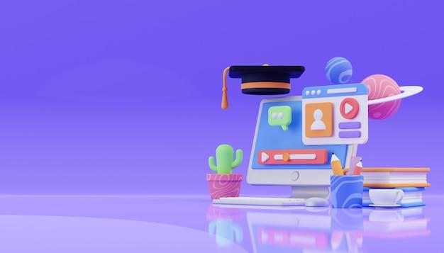 Representación 3d de educación en línea foto premium