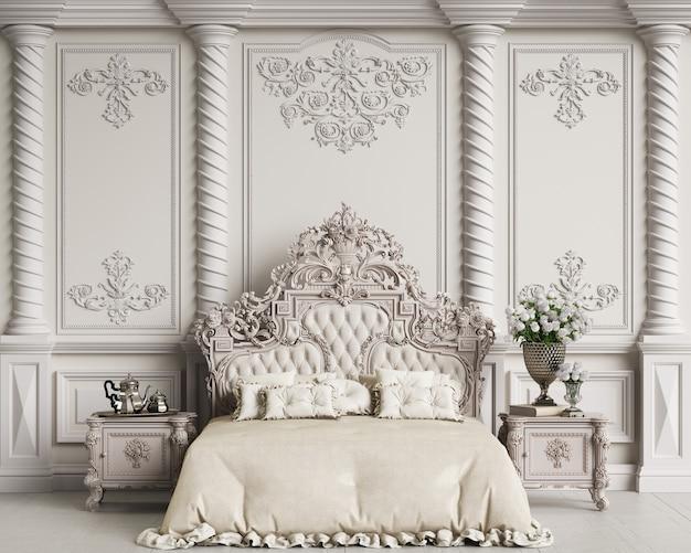 Representación 3d de un elegante dormitorio vintage
