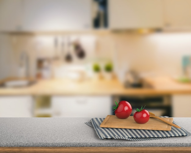 Representación 3d de encimera de granito con tomate y tabla de cortar en el fondo del gabinete de cocina