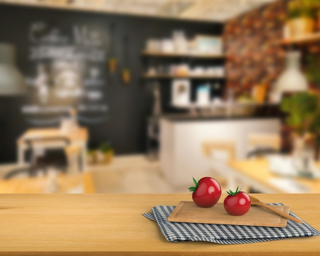 Representación 3d de encimera de madera con tomate y tabla de cortar en el fondo del gabinete de cocina