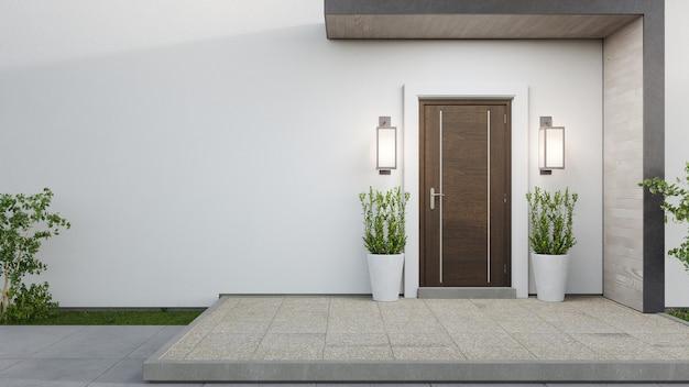 Representación 3d de la entrada de una casa moderna