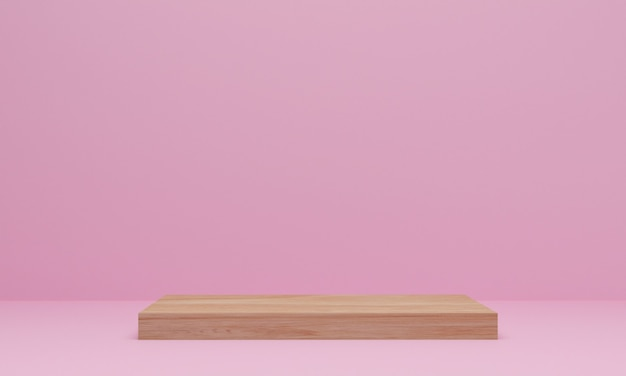 Representación 3d. escena mínima abstracta con geométrica. podio de madera sobre fondo rosa. pedestal o plataforma para exhibición, presentación de producto, maqueta, mostrar producto cosmético