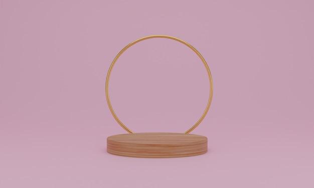 Representación 3d escena mínima abstracta con podio de madera geométrica sobre fondo rosa.