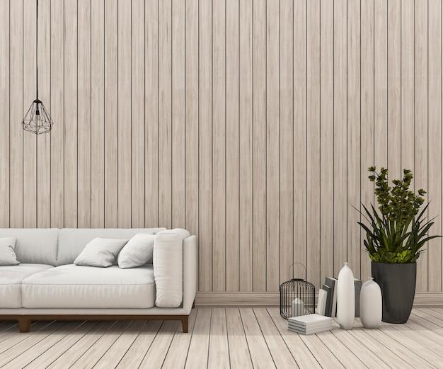 Representación 3d de la escena mínima del sofá con una bonita pared de madera