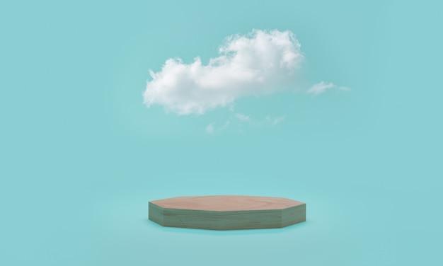 Representación 3d. escena de podio mínima con nubes sobre fondo azul.