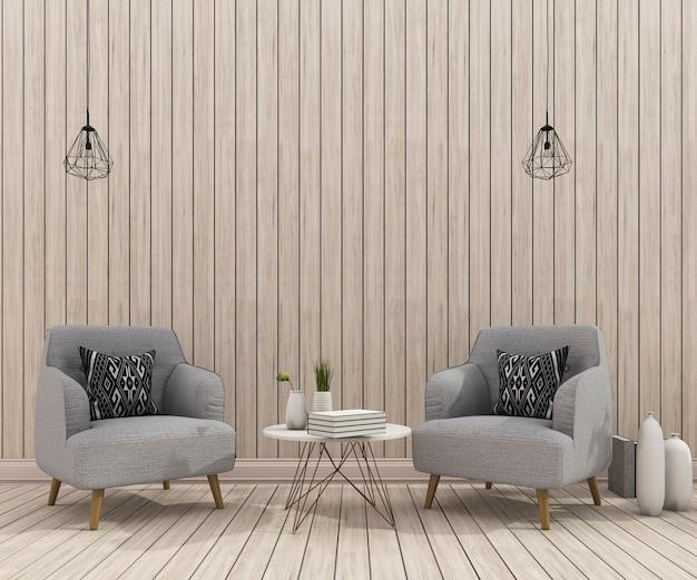 Representación 3d de la escena del sillón con una bonita pared de madera