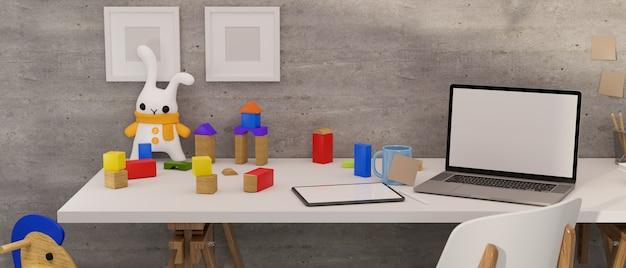 Representación 3d del escritorio de la oficina en casa con la muñeca de la tableta del ordenador portátil y juguetes en el escritorio blanco en la ilustración 3d de la habitación de la cama