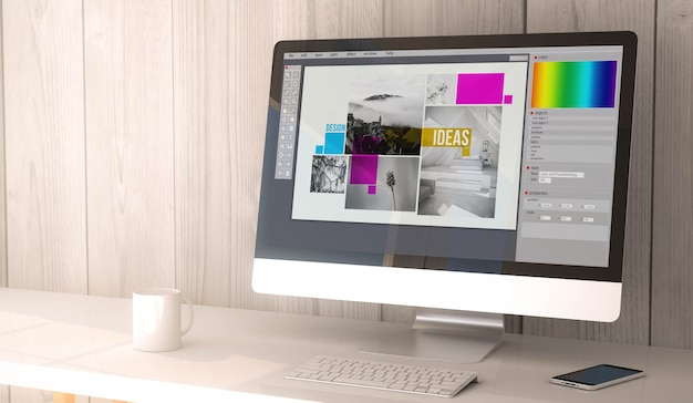 Representación 3d. espacio de trabajo con software de diseño gráfico en la pantalla de la computadora y el teléfono inteligente.