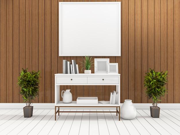 Representación 3d del estante blanco mínimo en la sala de estar de madera con la planta en el centro
