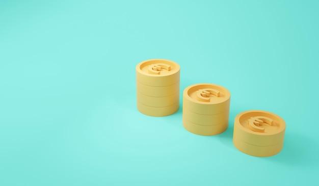 Representación 3d del estilo de dibujos animados en colores pastel de la pila de monedas de euro sobre fondo azul.