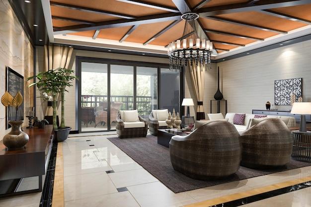 Representación 3d estilo tropical resort suite living recepción y salón