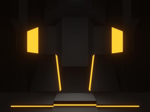 Representación 3d etapa científica negra. fondo oscuro.