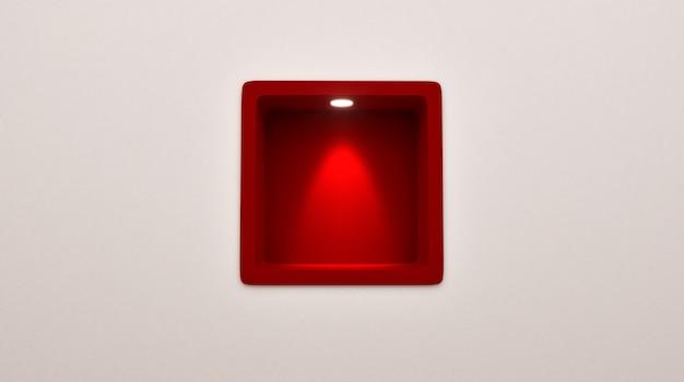 Representación 3d de la exhibición roja redondeada vacía del estante del lugar en el wallp. muestra tu producto