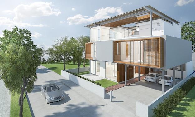 Representación 3d exterior de casa moderna con buen diseño
