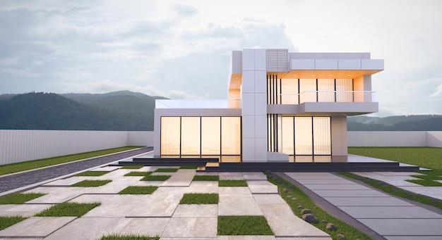 Representación 3d exterior casa moderna en estilo de arquitectura minimalista