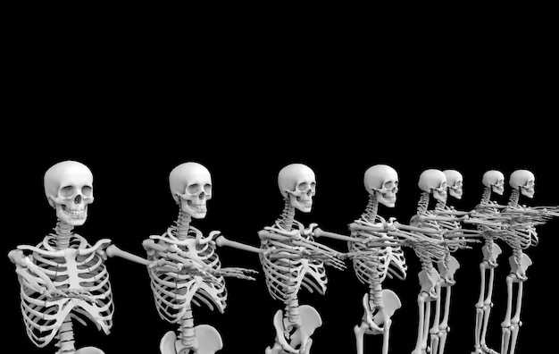 Representación 3d fantasma cráneo humano esqueleto huesos equipo fila en negro. horror halloween.