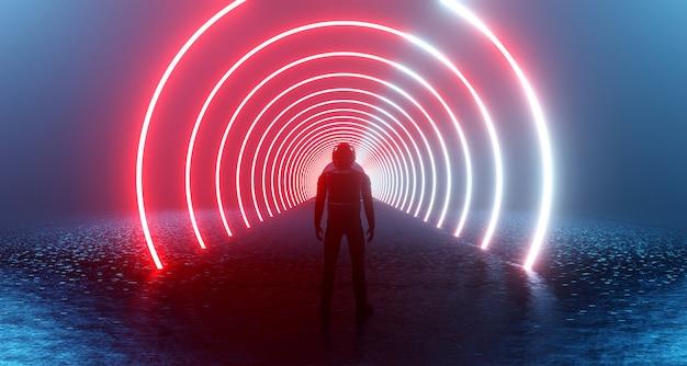 Representación 3d de la fantástica realidad cibernética de ciencia ficción y el hombre solo en el casco
