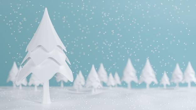 Representación 3d, feliz navidad y feliz año nuevo concepto, pino de baja poli con diseño de escena de nieve, ilustración 3d