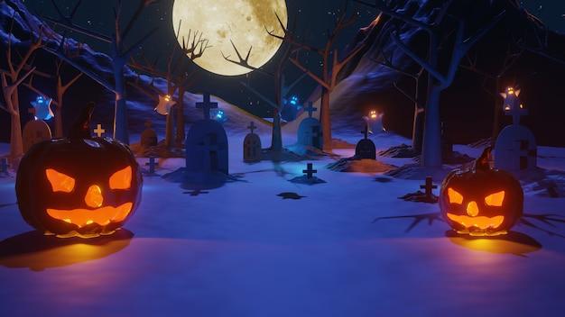 Representación 3d de la fiesta de halloween con calabazas y fantasmas