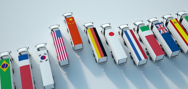 Representación 3d de una flota de camiones con diferentes banderas
