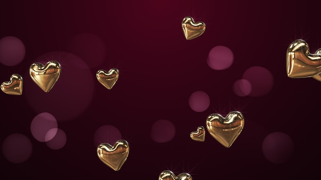 Representación 3d flying corazones dorados sobre fondo clarete