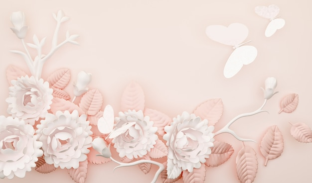 Representación 3d de fondo abstracto simple con decoración de flores y mariposas rosas