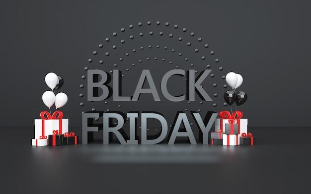 Representación 3d de fondo abstracto viernes negro con caja de regalo y globos