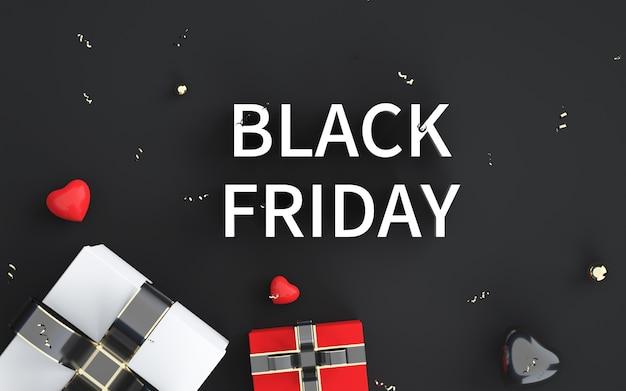 Representación 3d de fondo abstracto viernes negro con caja de regalo