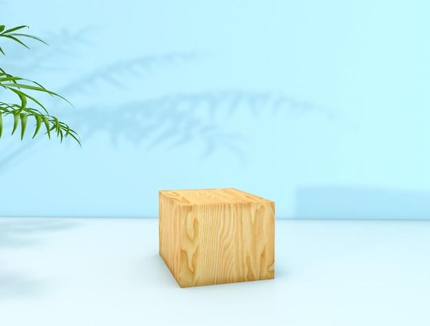 Representación 3d fondo de belleza natural para la exhibición de productos cosméticos. fondo de belleza de moda. exhibición de la caja de madera del cubo.