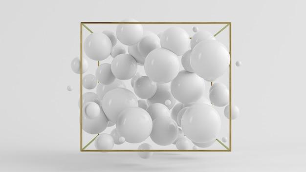 Representación 3d de fondo de burbujas blancas